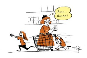 grocery store, cartoon
