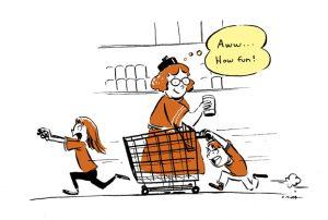 grocery store, cartoon